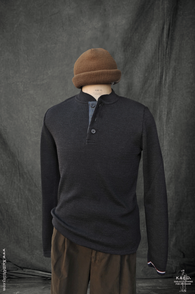 Henley Sweater - Charcoal - S, M, L, XL