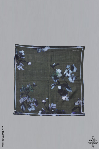 Printed Wool Pocket Square - Green Floral