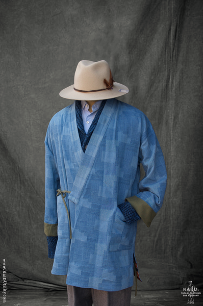 Japanese Farmer Coat - Patchwork Indigo Light - S