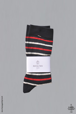 Balthus Stripe Socks - Navy/red/white