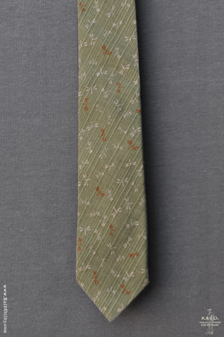 Jacquard Cotton Dragon Fly Tie - Garden Green