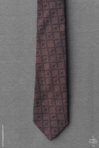 Jacquard Cotton Geo Tie - Dark Brown