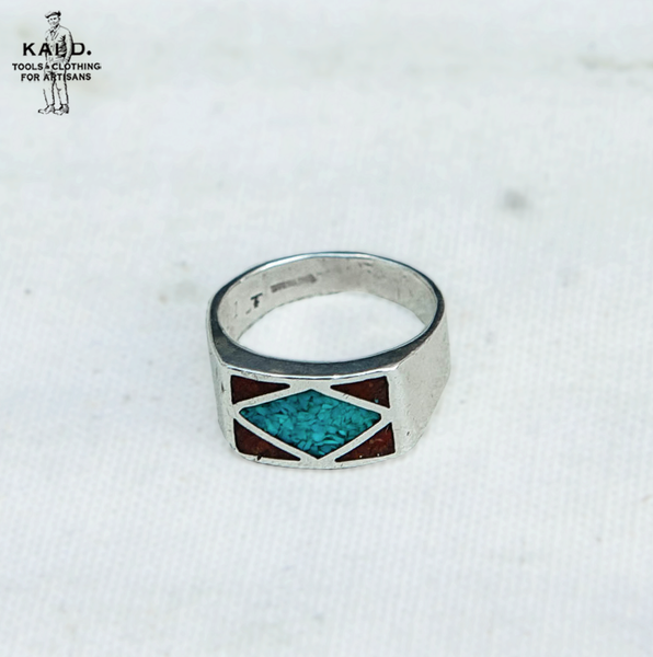 Sterling Silver Turquoise Coral Inlay Ring - Size 11