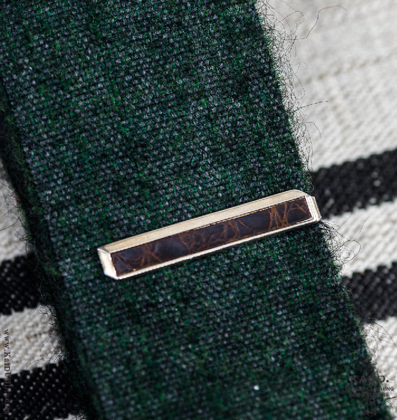Vintage Leather Insert Tie Clip