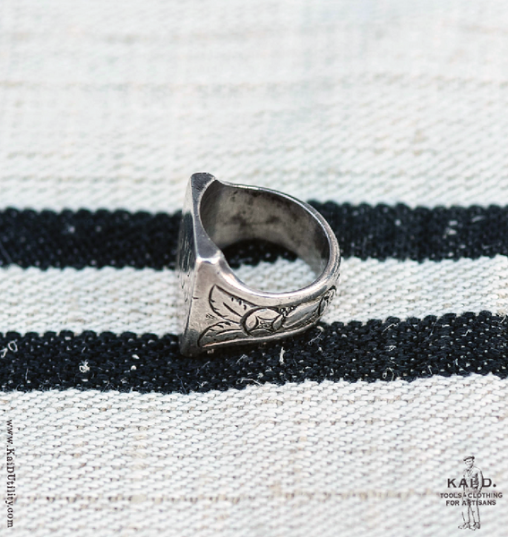 Vintage Silver Initials Ring - Size 10 1/4