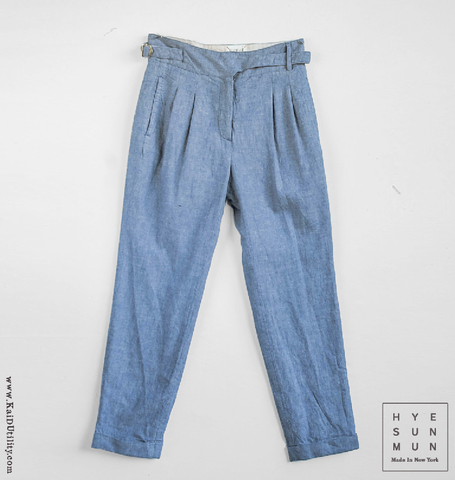 Isa Linen Cotton Herringbone Pant