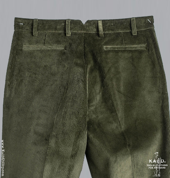 Wide Wale Corduroy Trousers - Olive - 32