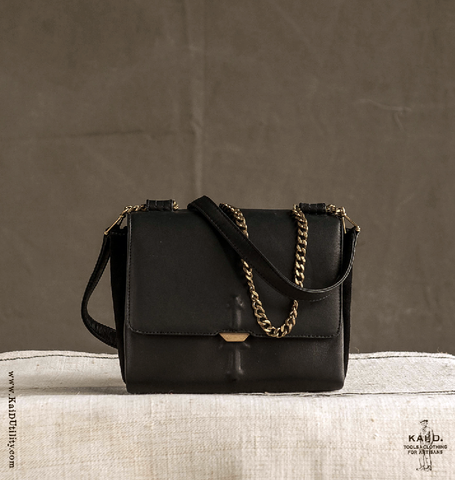 Aurum Leather Bag - Black