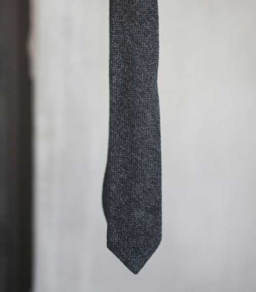 Texture Wool Tie - Charcoal Heather