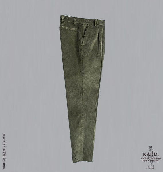 Wide Wale Corduroy Trousers - Olive