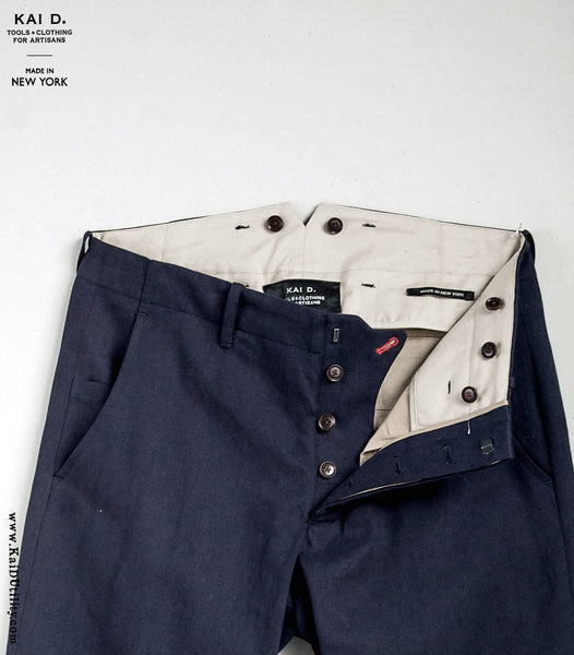 Linen Cotton Borough Pants - Navy - 30, 32, 34, 36, 38