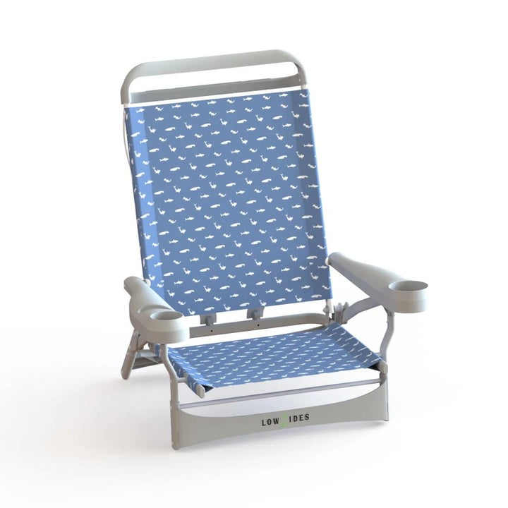 Sandbar Low Beach Chair in Shark Ocean Blue, Beach Chair, LowTides Ocean Products