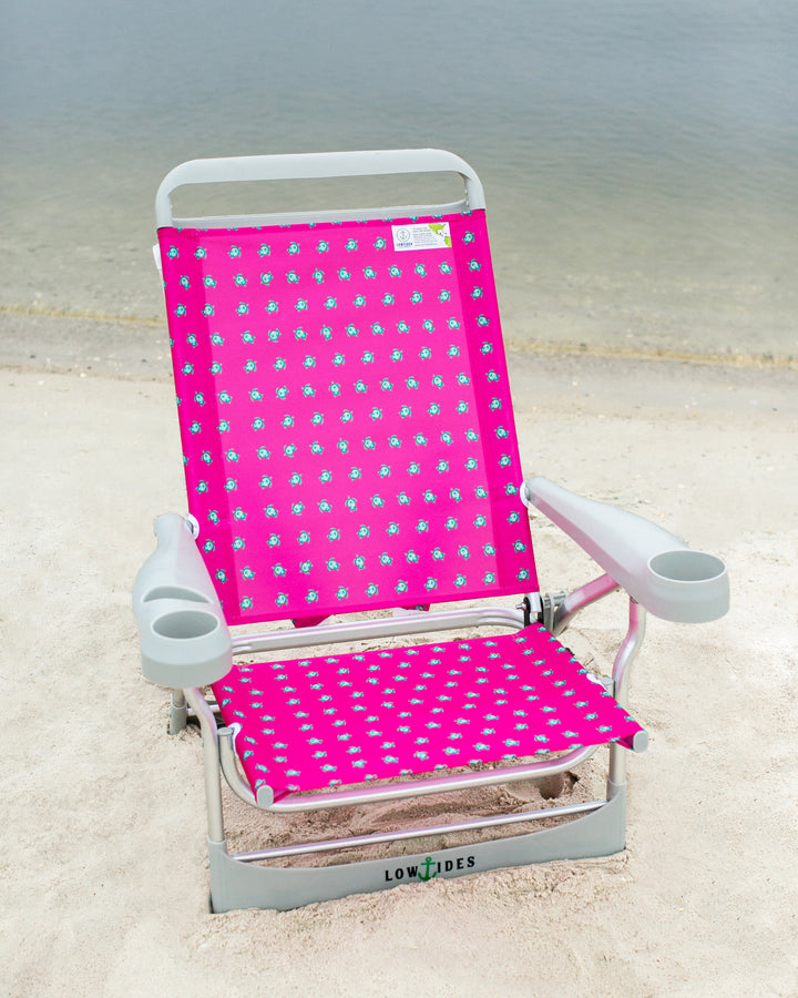 Sandbar Low Beach Chair in Sea Turtle Fuchsia, Beach Chair, LowTides Ocean Products