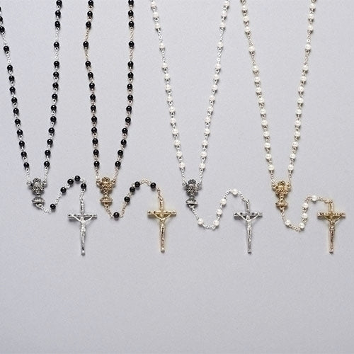 Rosary-First Communion Black/White and Gold/Silver