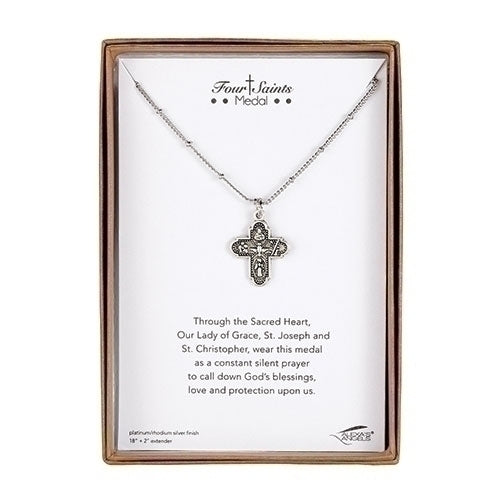 Necklace ~ Four Saints Cross Medal