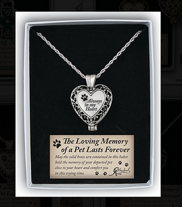 Memorial Pet Locket - Always in my Heart with Paw Print