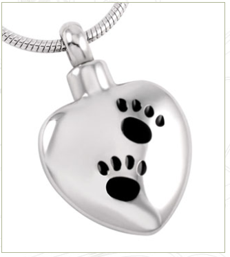 Pet Keepsake Pendant ~ Silver Heart with Paw Prints