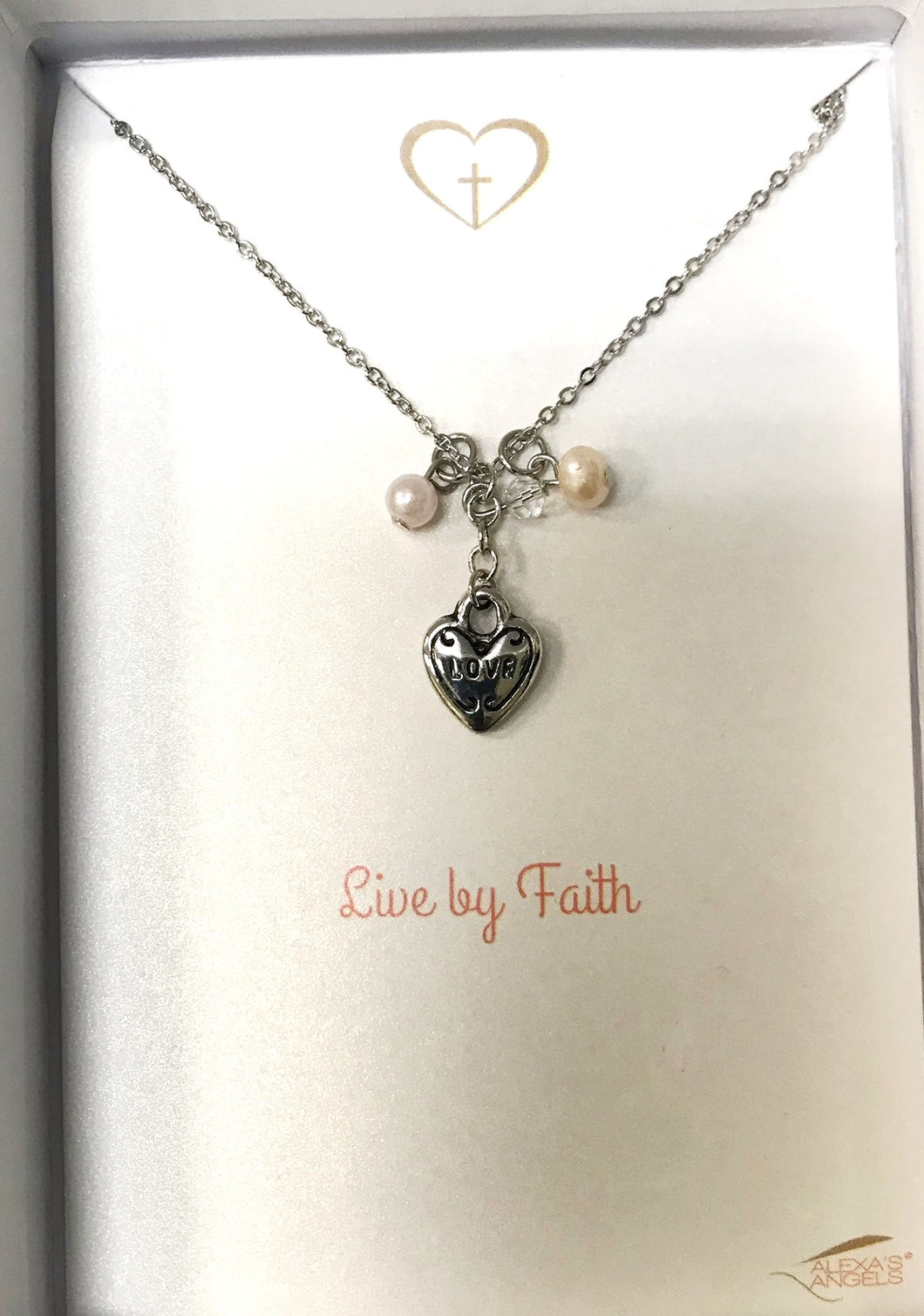 Necklace-Faith Heart with Pearls