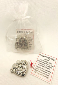 "Heart Charm-""Forever in my Heart"" Locket Charm in Bag"