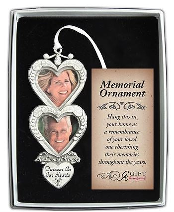 Memorial Ornament ~ Double Heart In Loving Memory