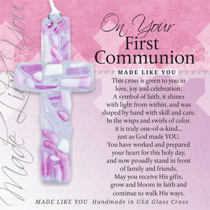 Girl's Pink Mosaic 1st Communion Cross