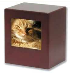 Pet Urn ~ Cherry Cube with Photo