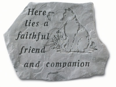 Garden Stone ~ Here Lies A Faithful Friend... (Cat)