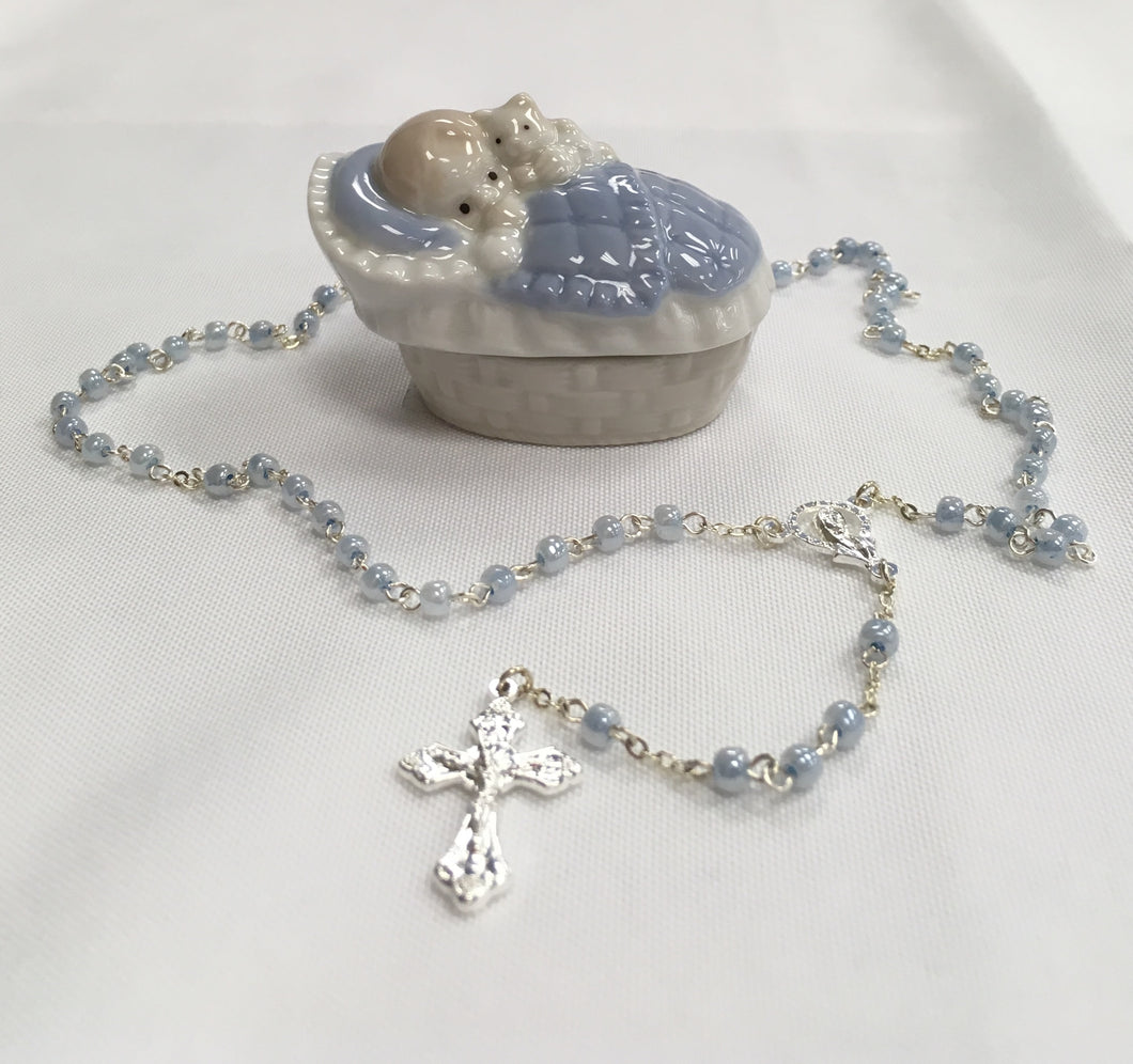Rosary ~ Baby Boy Keepsake Box