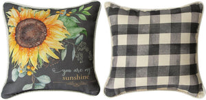 "Pillow-""You are my sunshine"" Sunflower Throw Pillow"