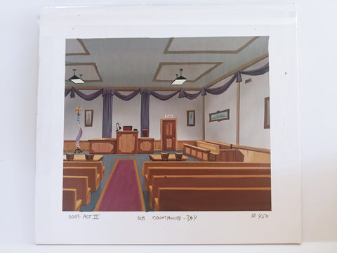 The Oblongs. Hand-painted original background used in the animated series! Courthouse..