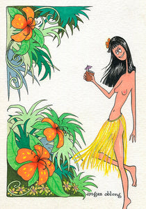 Hawaiian Pinup Girl Art Print.