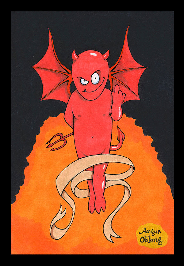 Little Demon Flipping the Bird Art Print.