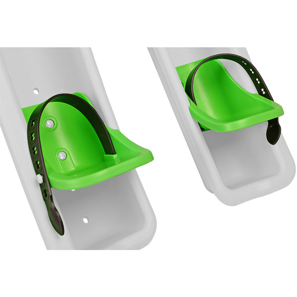 Plastic green footcups with an adjustable black buckle attached