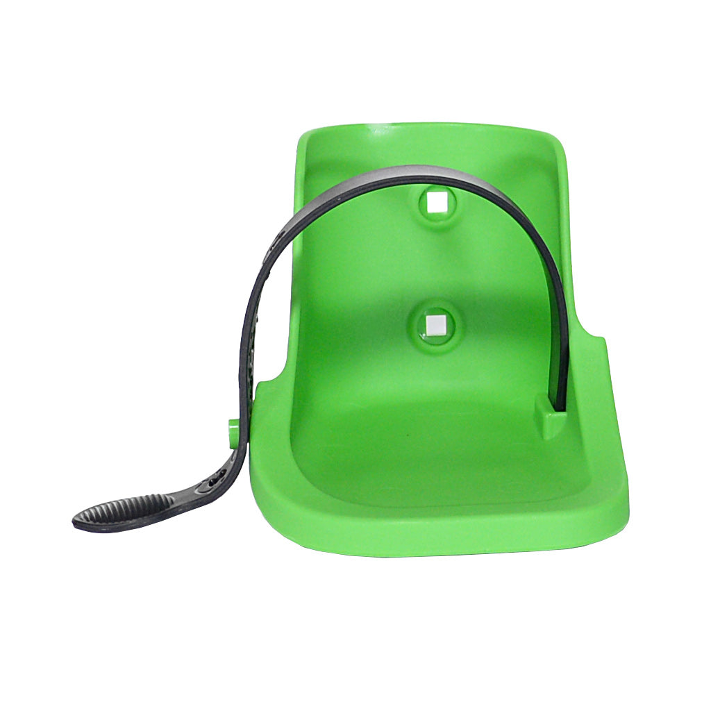 Plastic green footcup (left foot) with an adjustable black buckle attached
