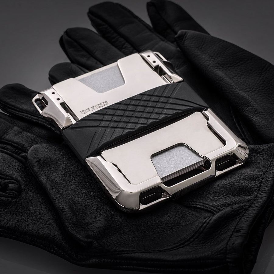 M2 MAVERICK WALLET - NICKEL PLATED - HAND POLISHED - SINGLE POCKET LEATHER BLACK - FEVERGUY