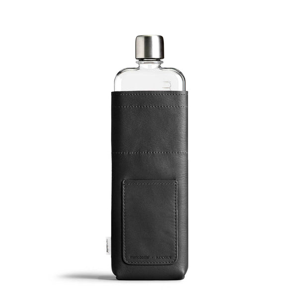 Memobottle - Slim Leather Sleeve - Black