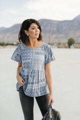 faded folk navy top, modest clothes
