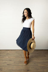 navy blue accordion skirt, modest clothing, modest clothes