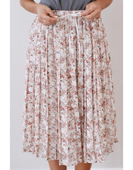 pink floral knee length skirt, modest clothing, modest clothes