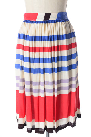 modest pleated striped skirt