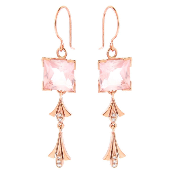 Rose Gold diamond 'Princess' earrings