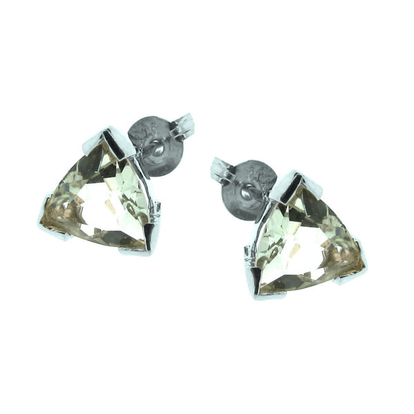 Silver Trilliant Claw Stud Earrings