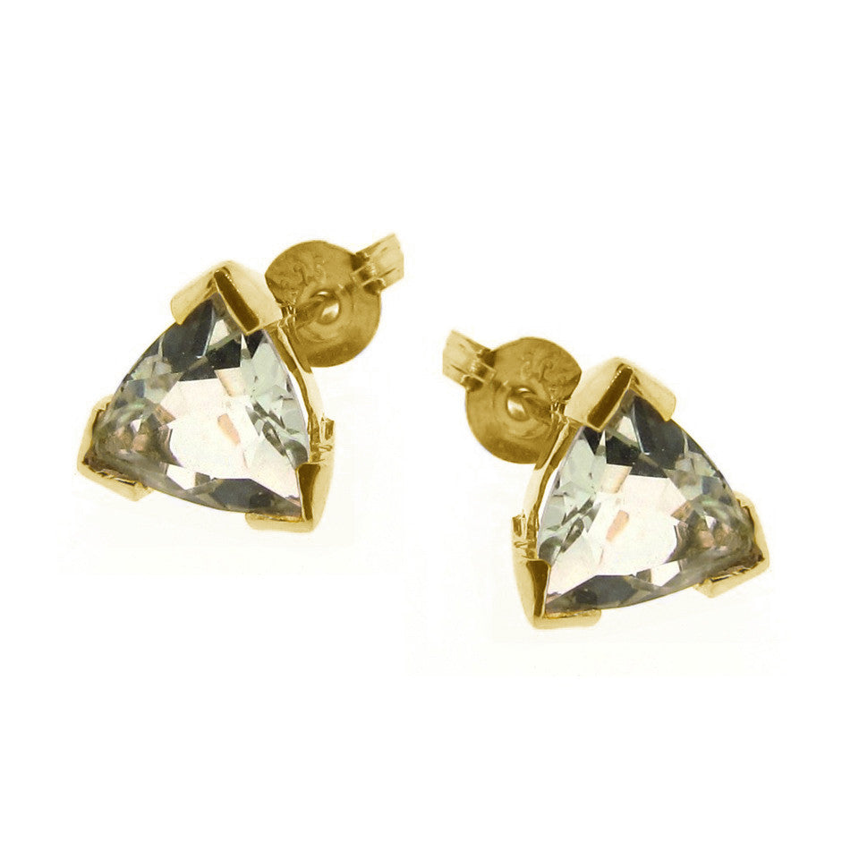 Yellow Gold Trilliant Claw Stud Earrings