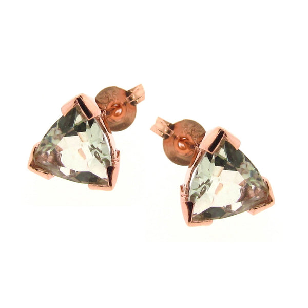 Rose Gold Trilliant Claw Stud Earrings
