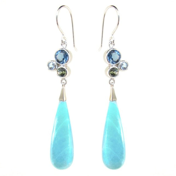 White Gold Blue 'Bubble Drop' Earrings