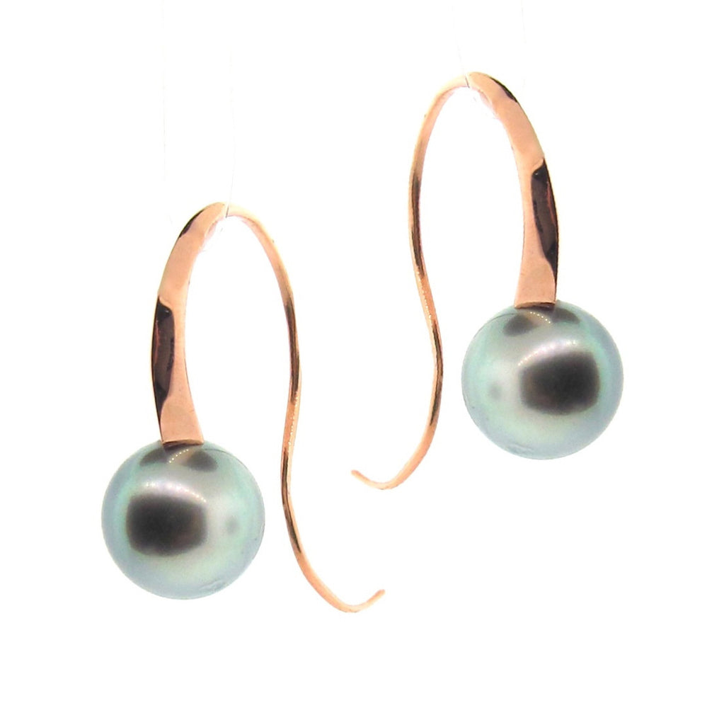 Rose gold 'Curve' Tahitian Pearl Drop Earrings