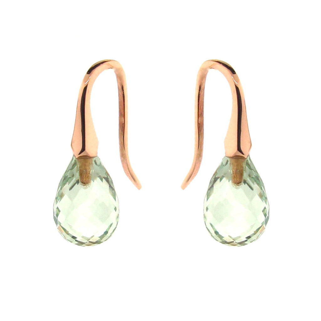 Rose Gold Green Quartz 'ShortDrop' earrings