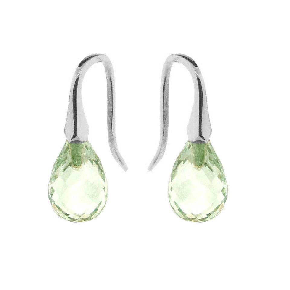 Sterling Silver Green Quartz 'ShortDrop' earrings