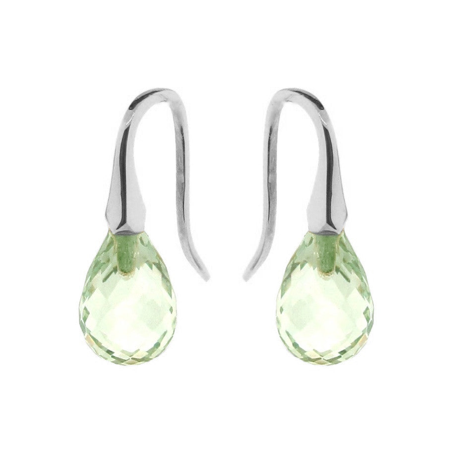 White Gold Green Quartz 'ShortDrop' earrings