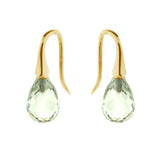 Yellow Gold Green Quartz 'ShortDrop' earrings